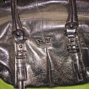 Coach purse! Perfect condition! Gray metallic!